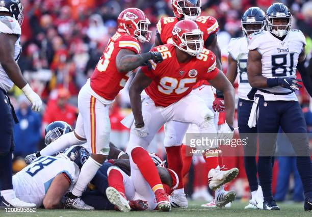 Chris Jones of the Kansas City Chiefs reacts after tackling Derrick Henry of the Tennessee Titans in the first half in the AFC Championship Game at...
