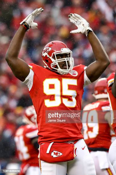 Chris Jones of the Kansas City Chiefs tries to pump up the crowd after a play against the Indianapolis Colts during the first quarter of the AFC...
