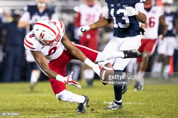 Chris Jones of the Nebraska Cornhuskers drops a pass intended for Saeed Blacknall of the Penn State Nittany Lions during the second quarteron...