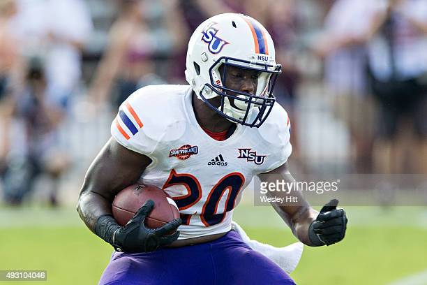 Chris Jones of the Northwestern State Demons runs the ball against the Mississippi State Bulldogs at Davis Wade Stadium on September 19 2015 in...