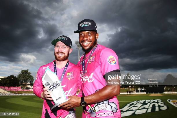 Chris Jordan and Tim Seifert of the Knights celebrate after winning the Super Smash Grand Final match between the Knights and the Stags at Seddon...