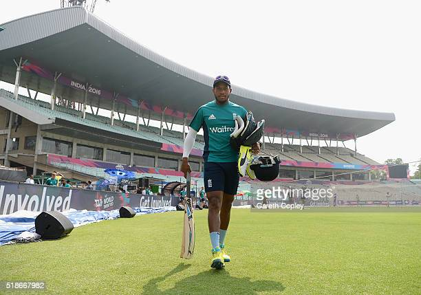 Chris Jordan of England arrives for a nets session ahead of tomorrrow's ICC World Twenty20 India 2016 Final between England and West Indies at Eden...