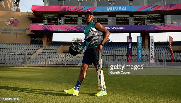 Chris Jordan of England arrives for a nets session at Wankhede Stadium on March 13 2016 in Mumbai India