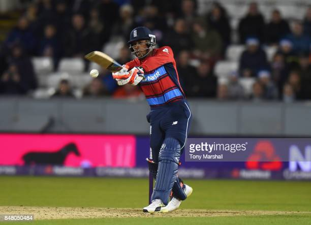 Chris Jordan of England bats during the 1st NatWest T20 International between England and West Indies at Emirates Durham ICG on September 16 2017 in...