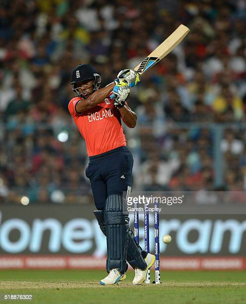 Chris Jordan of England bats during the ICC World Twenty20 India 2016 Final between England and the West Indies at Eden Gardens on April 3 2016 in...