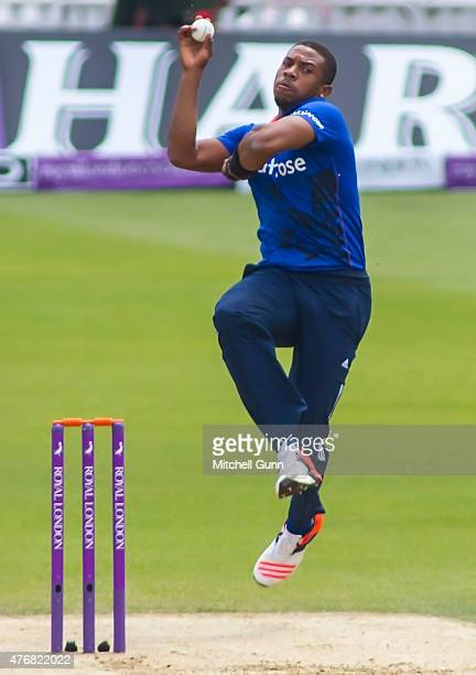 Chris Jordan of England bowling during the second ODI Royal London OneDay Series 2015 between England and New Zealand at Kia Oval on June 12 2015 in...