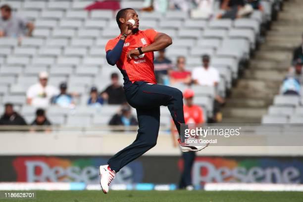 Chris Jordan of England bowls during game five of the Twenty20 International series between New Zealand and England at Eden Park on November 10, 2019...