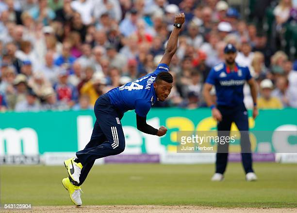 Chris Jordan of England bowls during The 3rd ODI Royal London OneDay match between England and Sri Lanka at The County Ground on June 26 2016 in...