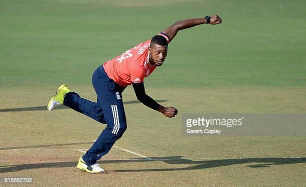 Chris Jordan of England bowls during the ICC Twenty20 World Cup Warm Up match between England and Mumbai Cricket Association XI at Brabourne Stadium...