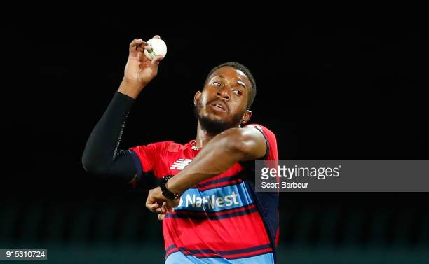 Chris Jordan of England bowls during the Twenty20 International match between Australia and England at Blundstone Arena on February 7 2018 in Hobart...