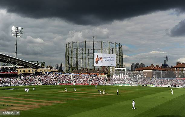 Chris Jordan of England bowls to Varun Aaron of India under dark skies during day one of 5th Investec Test match between England and India at The Kia...