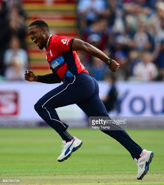 Chris Jordan of England celebrates after dismissing Chris Morris of South Africa during the 3rd NatWest T20 International between England and South...