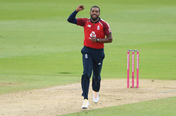 Chris Jordan of England celebrates after taking the wicket of Glenn Maxwell of Australia caught by Jos Buttler of England during the 2nd Vitality...