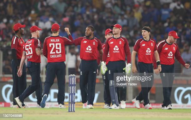 Chris Jordan of England celebrates after taking the wicket of Rishabh Pant of India with team mate Dawid Malan during the 2nd T20 International match...