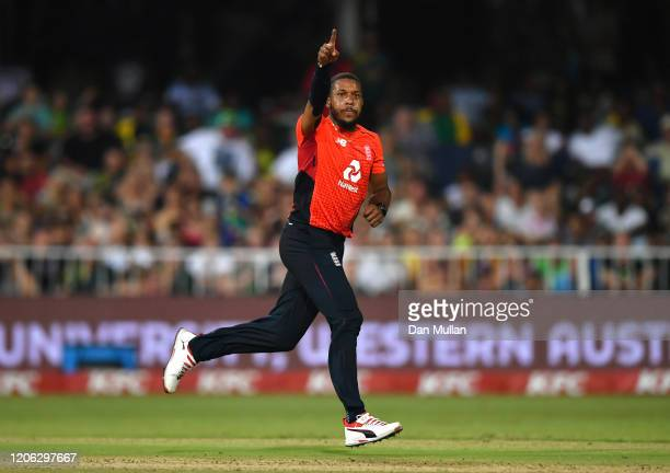 Chris Jordan of England celebrates bowling Andile Phehlukwayo of South Africa during the Second T20 International match between England and South...