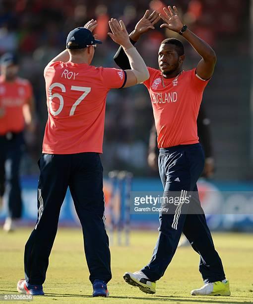 Chris Jordan of England celebrates dismissing Asghar Stanikzai of Afghanistan during the ICC World Twenty20 India 2016 Group 1 match between England...