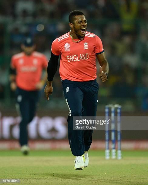 Chris Jordan of England celebrates dismissing Dinesh Chandimal of Sri Lanka during the ICC World Twenty20 India 2016 Group 1 match between England...