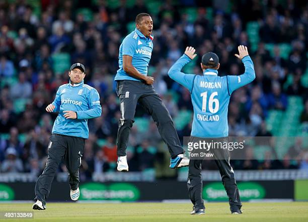 Chris Jordan of England celebrates taking the wicket of Dinesh Chandimal of Sri Lanka during the 1st Royal London One Day International match between...