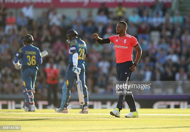 Chris Jordan of England celebrates taking the wicket of Dinesh Chandimal of Sri Lanka during the 1st NatWest T20 International between England and...