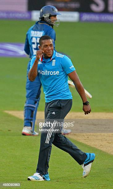 Chris Jordan of England celebrates taking the wicket of Tillakaratne Dilshan of Sri Lanka during the England v Sri Lanka first one day international...