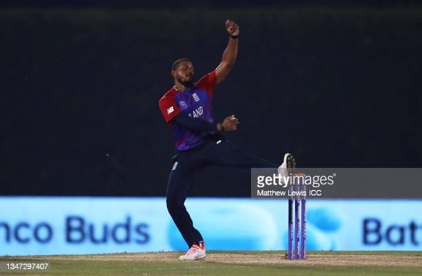 Chris Jordan of England in bowling action during the India and England warm Up Match prior to the ICC Men's T20 World Cup at on October 18, 2021 in...