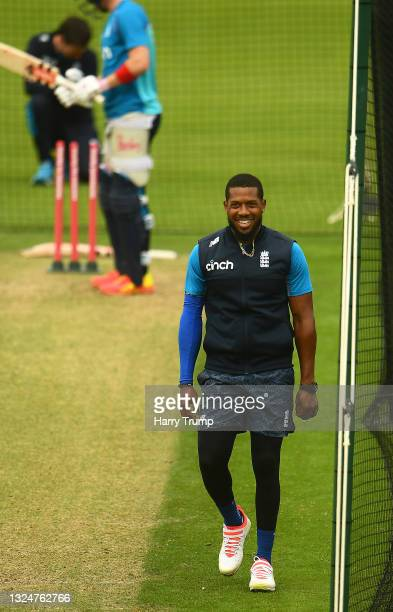 Chris Jordan of England looks on during an England Nets Session at Sophia Gardens on June 21, 2021 in Cardiff, Wales.