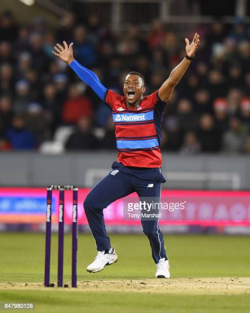 Chris Jordan of England makes an appeal for LBW during the 1st NatWest T20 International between England and West Indies at Emirates Durham ICG on...