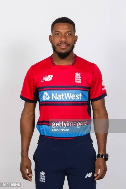 Chris Jordan of England poses during the England Twenty20 Headshots Session at Hotel Realm on January 31 2018 in Canberra Australia