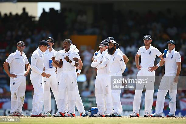 Chris Jordan of England shows his relief as Shai Hope of West Indies is given out lbw on referal during day three of the 3rd Test match between West...