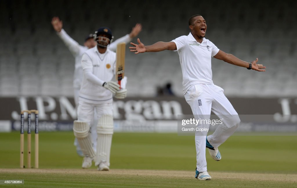 Chris Jordan of England successfully appeals for the wicket of Prasanna Jayawardene of Sri Lanka during day five of 1st Investec Test match between England and Sri Lanka at Lord's Cricket Ground on June 16, 2014 in London, England.