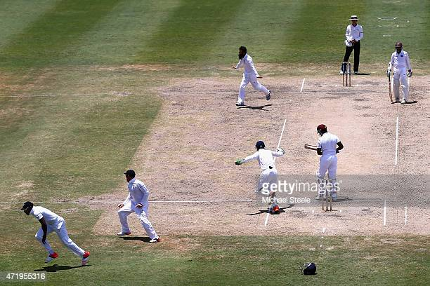 Chris Jordan of England takes a catch at 2nd slip off the bowling of Moeen Ali to claim the wicket of Darren Bravo of West Indies during day two of...