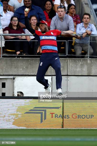Chris Jordan of England takes a catch over the boundry to dismiss Colin de Grandhomme of the Blackcaps during the International Twenty20 match...