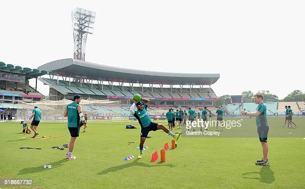 Chris Jordan of England warms up for a nets session ahead of tomorrrow's ICC World Twenty20 India 2016 Final between England and West Indies at Eden...