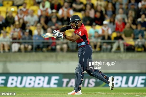 Chris Jordan of Englanf bats during the International Twenty20 match between New Zealand and England at Westpac Stadium on February 13 2018 in...