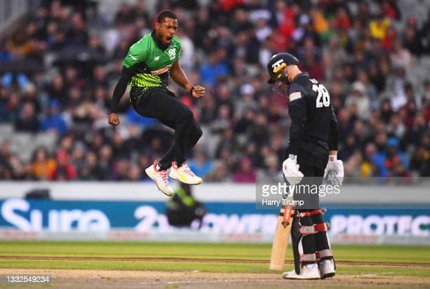 Chris Jordan of Southern Brave Men celebrates after taking the wicket of Phil Salt of Manchester Originals Men during The Hundred match between...
