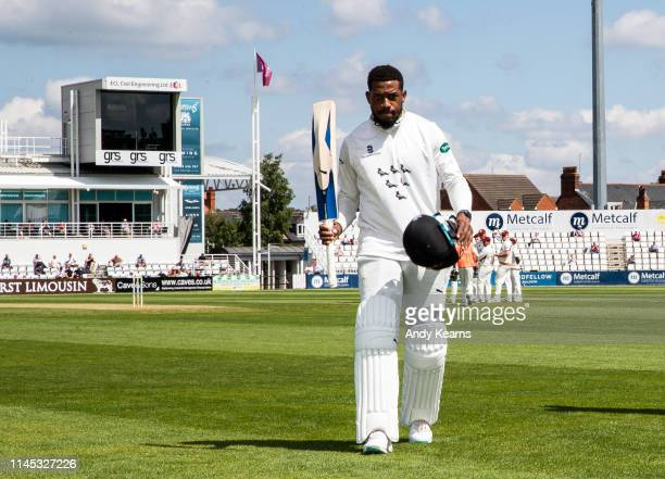 Chris Jordan of Sussex acknowledges the applause at the end of his innings of 166 runs during the Specsavers County Championship Division Two match...