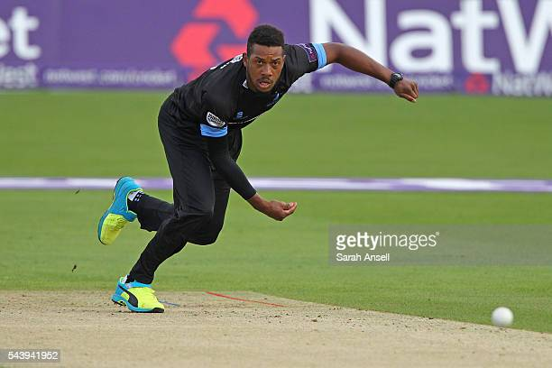 Chris Jordan of Sussex bowls during the NatWest T20 Blast match between Kent and Sussex at The Spitfire Ground on June 30 2016 in Canterbury England