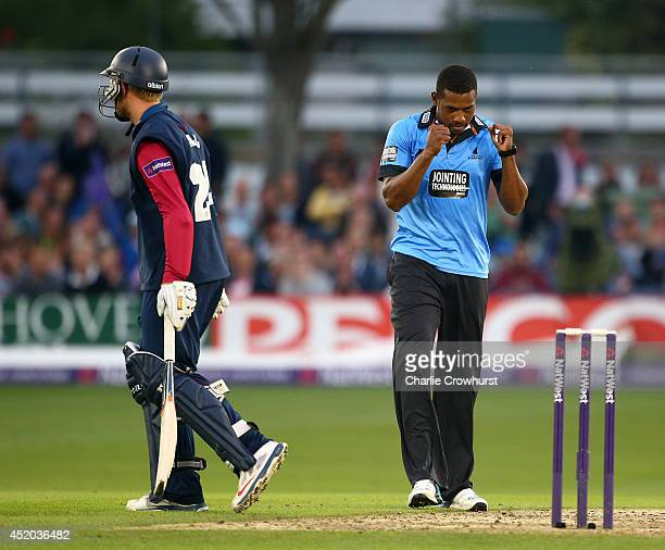 Chris Jordan of Sussex celebrates after taking the wicket of Adam Ball of Kent during the Natwest T20 Blast match between Sussex Sharks and Kent...