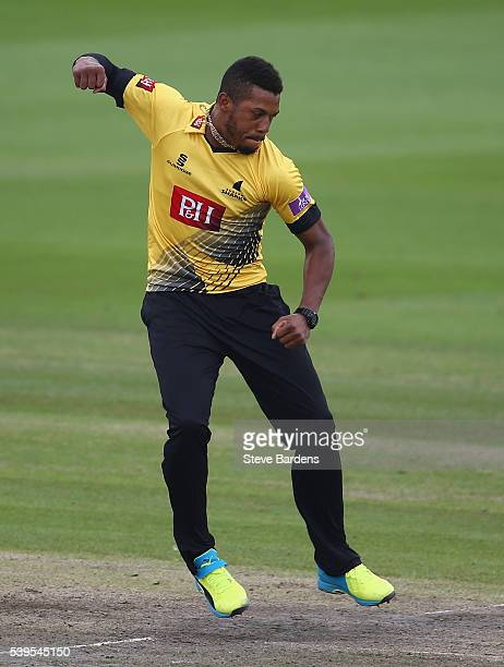 Chris Jordan of Sussex celebrates taking the wicket of Dawid Malan of Middlesex during the Royal London One Day Cup match between Sussex and...