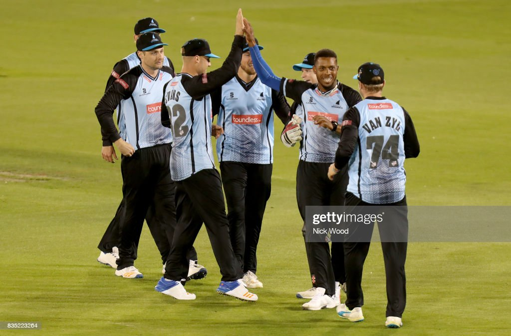 Chris Jordan of Sussex celebrates taking the wicket of James Foster during the Sussex v Essex - NatWest T20 Blast (G) cricket match at the 1st Central County Ground on August 18, 2017 in Hove, England.