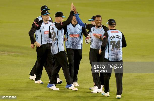 Chris Jordan of Sussex celebrates taking the wicket of James Foster during the Sussex v Essex NatWest T20 Blast cricket match at the 1st Central...