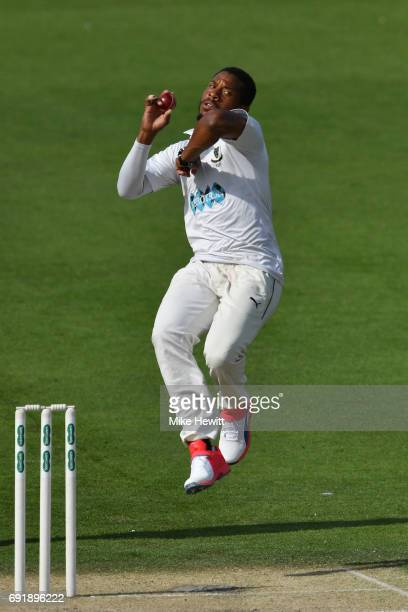 Chris Jordan of Sussex in action on the second day during the Specsavers County Championship Division Two match between Sussex and Worcestershire at...