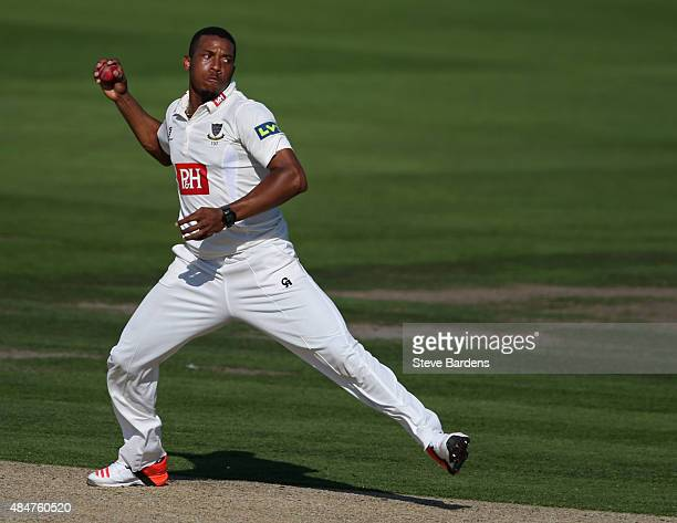 Chris Jordan of Sussex looks to throw the ball during the LV County Championship match between Sussex and Yorkshire at BrightonandHoveJobscom County...