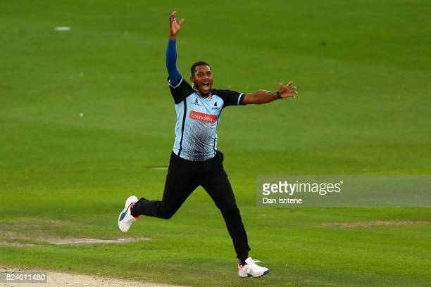 Chris Jordan of Sussex Sharks appeals unsuccessfully during the NatWest T20 Blast South Group match between Sussex Sharks and Middlesex at The 1st...