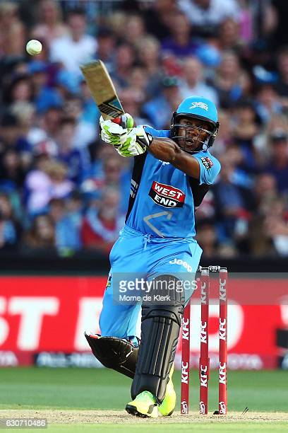 Chris Jordan of the Adelaide Strikers bats during the Big Bash League match between the Adelaide Strikers and Sydney Sixers at Adelaide Oval on...