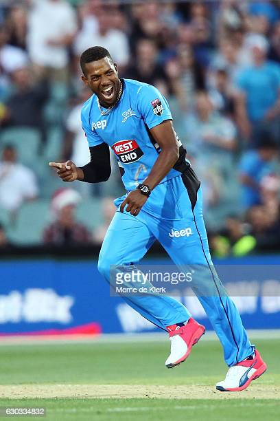 Chris Jordan of the Adelaide Strikers celebrates after getting the wicket of Chris Lynn of the Brisbane Heat during the Big Bash League match between...