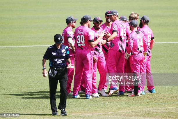 Chris Jordan of the Knights celebrates with teammates for the wicket of Tom Bruce of the Stags during the Super Smash Grand Final match between the...