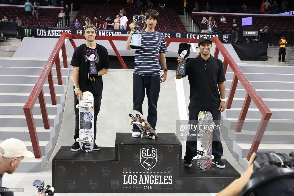Chris Joslin, Yuto Horigome and Kelvin Hoefler stand on the