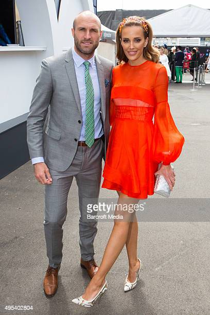Chris Judd and Rebecca Judd at the 2015 Melbourne Cup Carnival at Flemington Racecourse on November 3 2015 in Melbourne Australia Chris Putnam /...