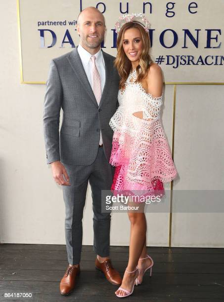 Chris Judd and Rebecca Judd attend the David Jones Marquee on Caulfield Cup Day at Caulfield Racecourse on October 21 2017 in Melbourne Australia